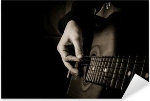 Autocolante Pixerstick guitar at black background