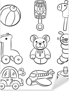 Aufkleber Hand Zeichnen Cartoon Baby Spielzeug Symbol Pixers