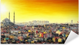 Autocolante Pixerstick Istanbul Mosque with colorful residential area in sunset