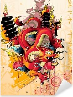 Autocolante Pixerstick Japanese dragon vector