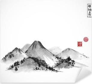 Autocolante Pixerstick Montanhas desenhado à mão com tinta no fundo branco. Contém hieróglifos - zen, liberdade, natureza, clareza, grande bênção. pintura a tinta sumi-e oriental tradicional, u-sin, go-hua.