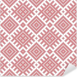 Autocolante Pixerstick Padrão popular russa Seamless, imitação de bordado cruz-costurada. Padrões consistem em antigos amuletos eslavos. Swatch incluído no arquivo do vetor.