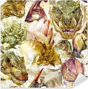 Autocolante Pixerstick Padrão sem emenda de dinossauros. ilustração de aquarela desenhados à mão
