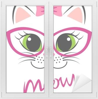 1966c83a3d60c Canvastavla Söt vit kattunge med rosa båge och glasögon. girlish print med  kitty för t-shirt • Pixers® - Vi lever för förändring