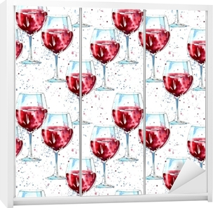 80e9957c3897 Quadro em Tela Padrão contínuo de champanhe, conhaque, vinho, cerveja e  vidro. pintura de uma bebida alcoólica. watercolor hand drawn  illustration.white ...