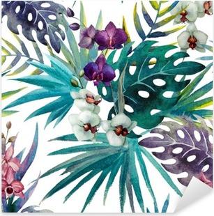 Autocolante Pixerstick pattern orchid hibiscus leaves watercolor tropics