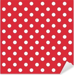 Autocolante Pixerstick Red background retro seamless vector pattern polka dots