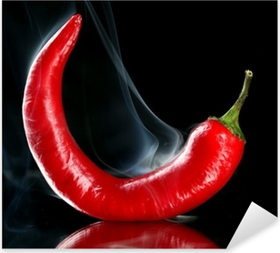 Autocolante Pixerstick Red hot chili pepper isolated on black