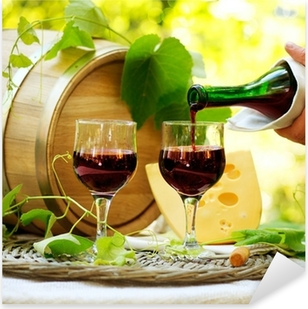Autocolante Pixerstick Red Wine and Cheese. Romantic Lunch Outdoor.