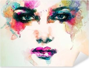 Autocolante Pixerstick Retrato da mulher. aquarela abstrata. fundo moda