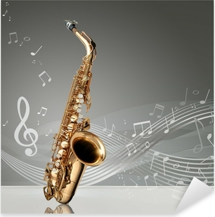 Autocolante Pixerstick Saxophone with musical notes