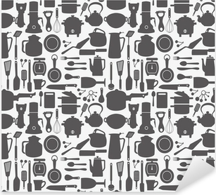 Autocolante Pixerstick seamless kitchen pattern
