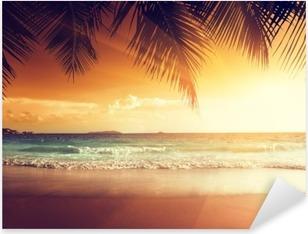 Autocolante Pixerstick sunset on the beach of caribbean sea