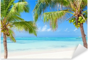 Autocolante Pixerstick Tropical beach with coconut palms and transparent waters