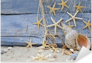 Autocolante Pixerstick Urlaubserinnerung: Posthornschnecke, Seesterne und Fischernetz