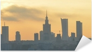 Autocolante Pixerstick Warsaw sunset panorama