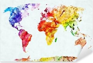 Autocolante Pixerstick Watercolor world map