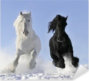 Autocolante Pixerstick white and black horse