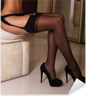 Autocolante Pixerstick woman's sexy legs in pantyhose