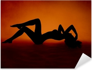 Autocolante Pixerstick woman sexy silhouette lying at red orange background