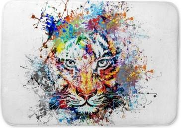 Badematte Hellen Hintergrund mit Tiger