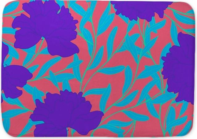 Badmat Abstract elegantiepatroon met bloemenachtergrond. - Bloemen en Planten