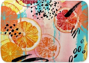 Badmat Aquarel oranje, citroen, grapefruit naadloze patroon.