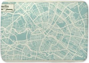 Badmat Berlijn Duitsland stadsplattegrond in retro stijl. overzichtskaart.