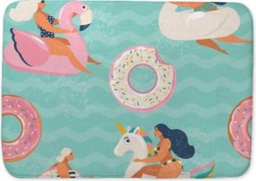 Badmat Flamingo, eenhoorn, zwaan en zoete donut opblaasbare zwembad drijft vector naadloze patroon.