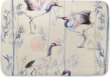 Badmat -Hand getekende aquarel naadloos patroon met witte Japanse dansen kranen. Herhaalde achtergrond met delicate vogels en bamboe