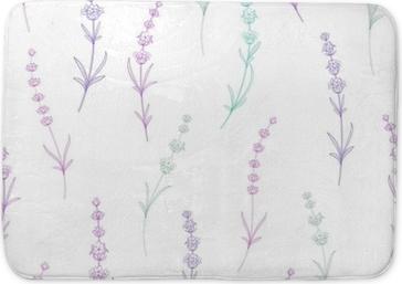 Badmat Naadloze patroon van lavendel bloemen op een witte achtergrond. waterverfpatroon met lavendel voor verpakking. vectorillustratie
