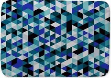 Badmat Retro stijldriehoek patroon. Willekeurig gekleurde driehoekjes, verticale lay-out. Kleuren oceaan. Abstract geometrische vector achtergrond.