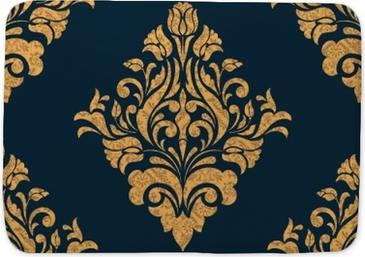 Badmat Vector damast naadloze patroonelement. klassieke luxe ouderwetse damast ornament, Koninklijke Victoriaanse naadloze textuur voor achtergronden, textiel, onmiddellijke verpakking. prachtige bloemen barokke sjabloon.