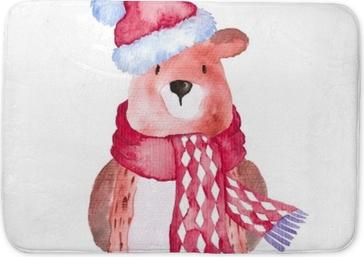 Badmatta Björn juldjur vinter akvarell handmålade illustration söta djur helgdagar säsongsbetonade isolerade hatt halsduk