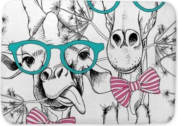 Badrumsmatta Sömlöst mönster med giraffer i glasögon och med båge. vektor illustration.