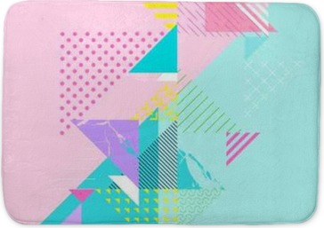 Abstract colorful geometric composition Bath Mat