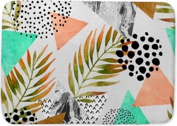 Abstract summer geometric seamless pattern Bath Mat