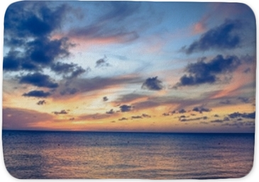 Beautiful beach scene with sea and sunset sky Bath Mat