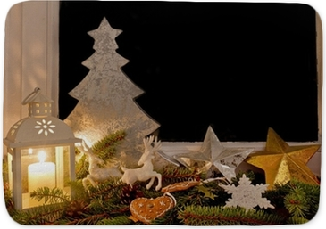 christmas decorations on a window sill wall mural pixers we live to change