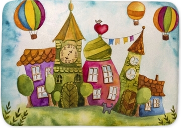 Colorful fairy houses Bath Mat