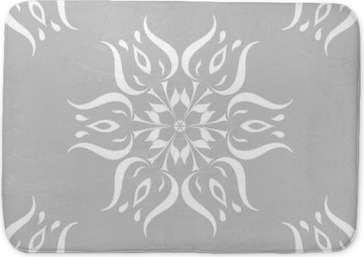 Gray and white floral ornament. Seamless pattern Bath Mat