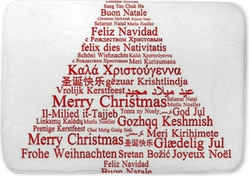 merry christmas in different languages forming a christmas tree canvas print pixers we live to change
