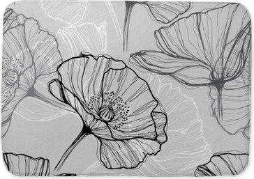Monochrome seamless pattern with poppies. Hand-drawn floral background Bath Mat