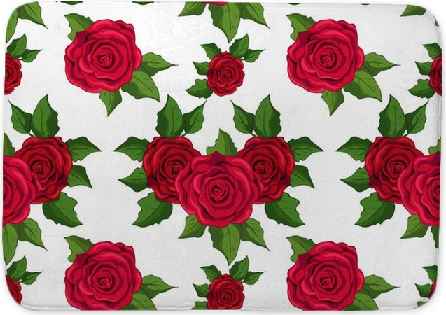 Seamless Floral Pattern Wallpaper With Red Roses On White Background Bath Mat