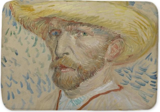 e04703a7c16 Vincent van Gogh - Self-portrait with straw hat and artist s smock Bath Mat
