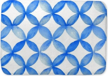 Watercolor blue japanese pattern. Bath Mat