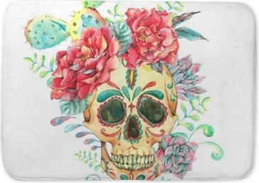 Watercolor card with skull and roses Bath Mat