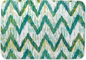 Watercolor ikat chevron seamless pattern. Green and blue watercolour . Bohemian ethnic collection. Bath Mat