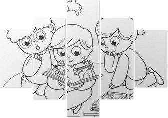 Birlikte Bir Pop Up Kitap Okuma Arkadaşlar çizime Boyama Poster