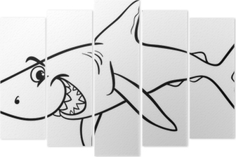 Köpekbalığı Hayvan Karikatür Boyama Kitabı Tuval Baskı Pixers